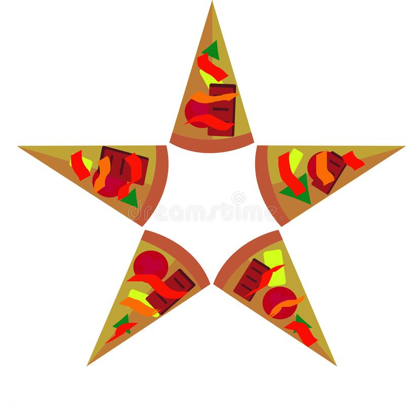 A star made of pizzas stock illustration