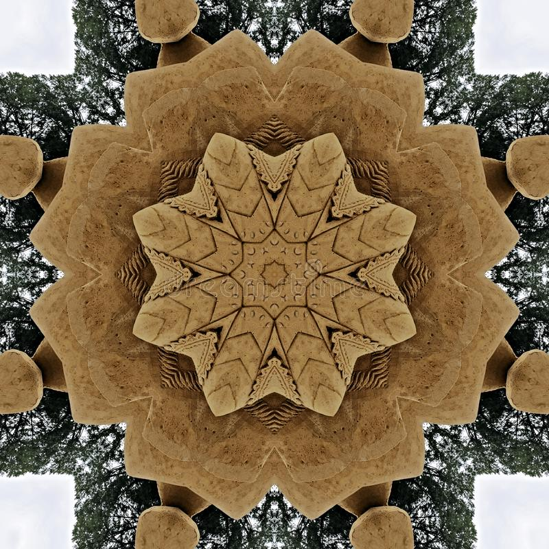 Star made from sand and trees seen through kaleidoscope. Digital art design. Abstract colorful texture made of sand construction seen through kaleidoscope vector illustration