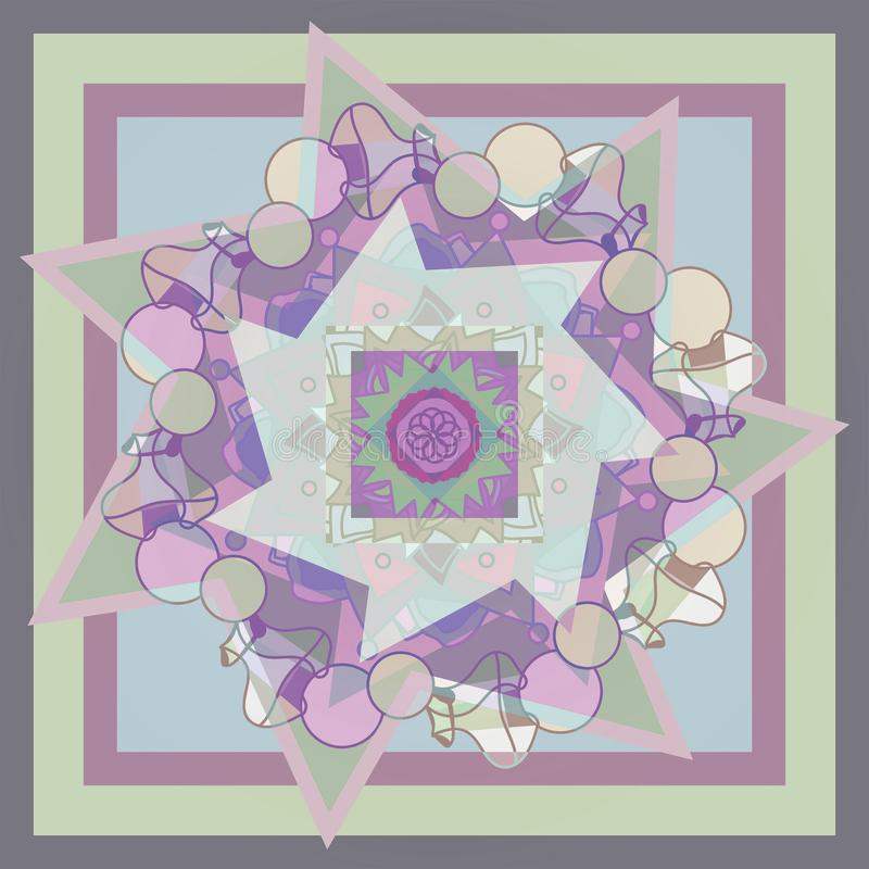 STAR MANDALA. GEOMETRIC BACKGROUND. PASTEL COLORS PALLET. CENTRAL DESIGN IN VIOLET, PURPLE, PINK, AND GRAY royalty free stock image