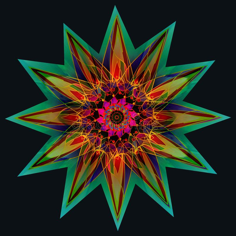 STAR MANDALA.PLAIN BLACK BACKGROUND. COLORFUL DESIGN, CENTRAL STAR IN GREEN, BLUE, ORANGE, YELLOW, FUCHSIA. VINTAGE STYLE STAR MANDALA. PLAIN BLACK BACKGROUND royalty free stock image