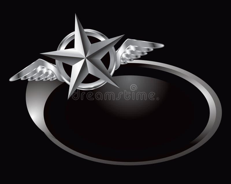 Star mit Flügeln auf silbernem swoosh stock abbildung