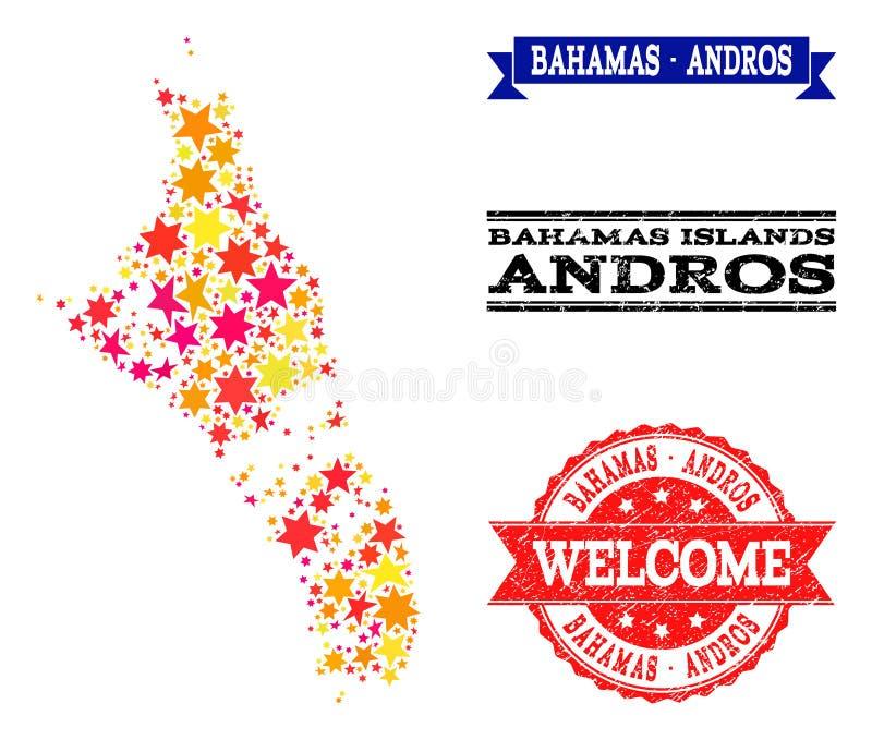 Star Mosaic Map of Bahamas - Andros Island and Grunge Watermarks royalty free illustration