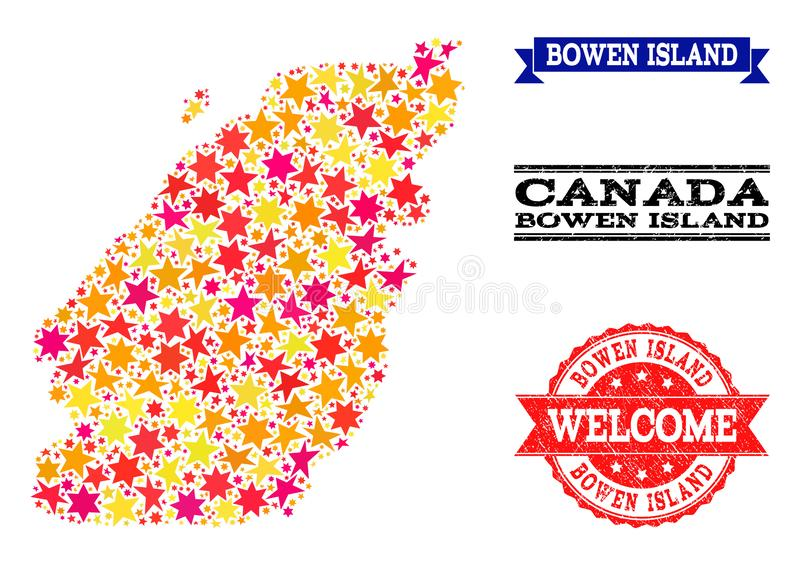 Star Mosaic Map of Bowen Island and Grunge Watermarks. Mosaic map of Bowen Island designed with colored flat stars, and grunge textured stamps, isolated on an royalty free illustration