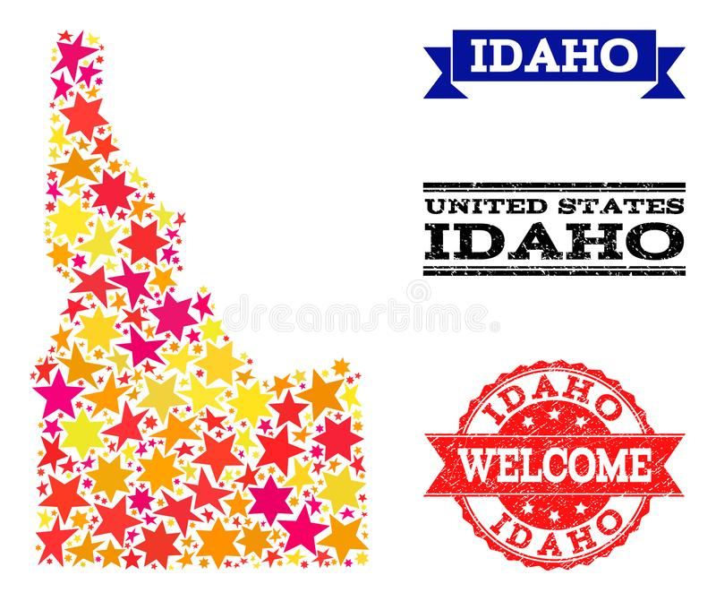 Star Mosaic Map of Idaho State and Grunge Stamps. Mosaic map of Idaho State formed with colored flat stars, and grunge textured stamps, isolated on an white stock illustration