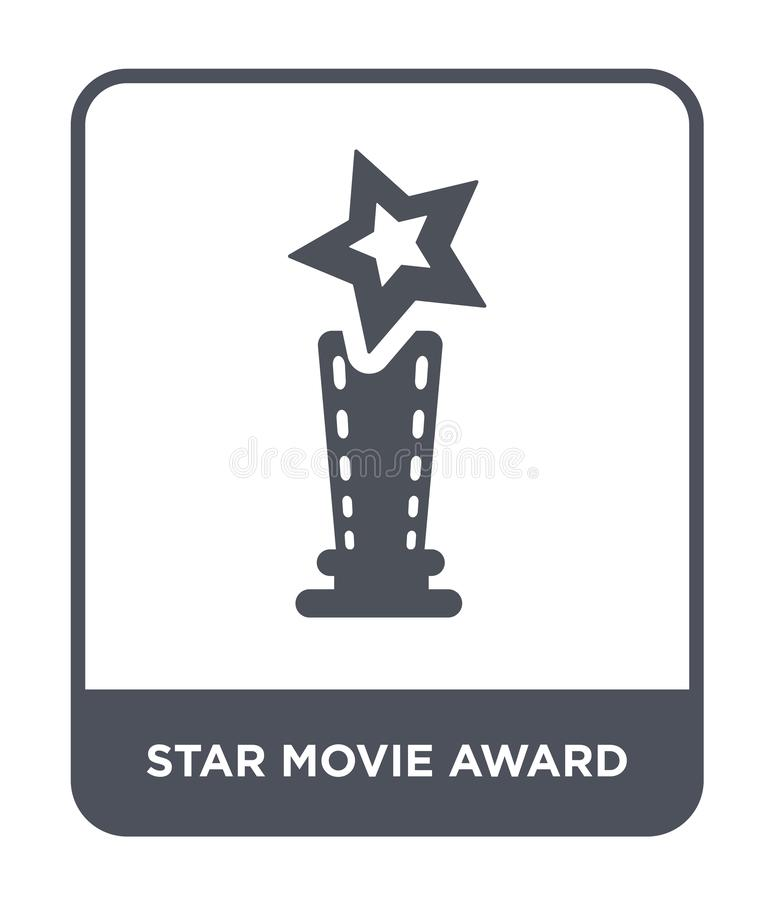 Star movie award icon in trendy design style. star movie award icon isolated on white background. star movie award vector icon. Simple and modern flat symbol royalty free illustration