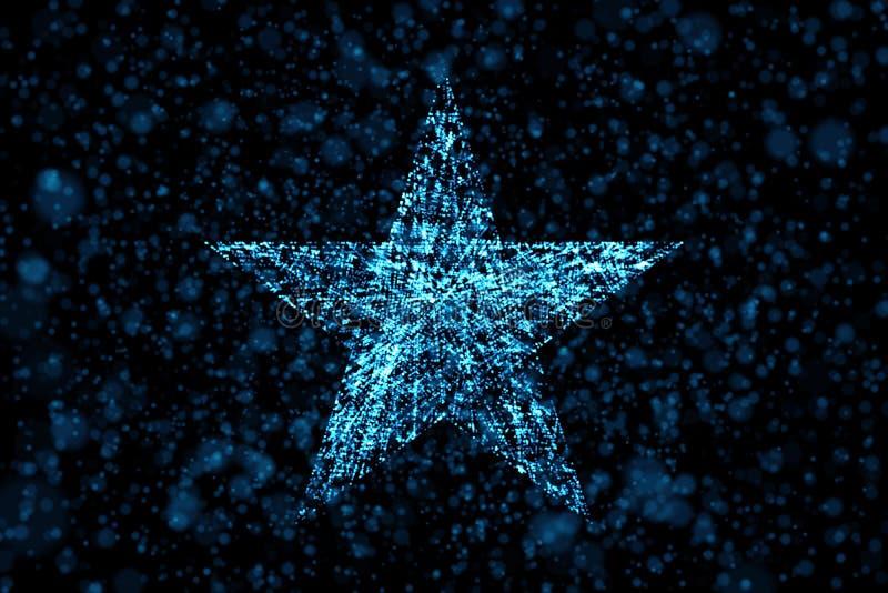 Star no fundo azul sob a forma da inteligência artificial me ilustração stock