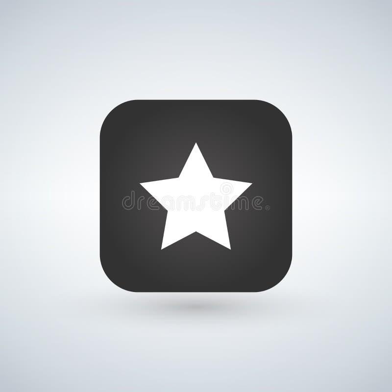 Star o ícone favorito da Web do sinal no botão quadrado arredondado do app com sombra preta no fundo branco Ilustração do vetor ilustração royalty free