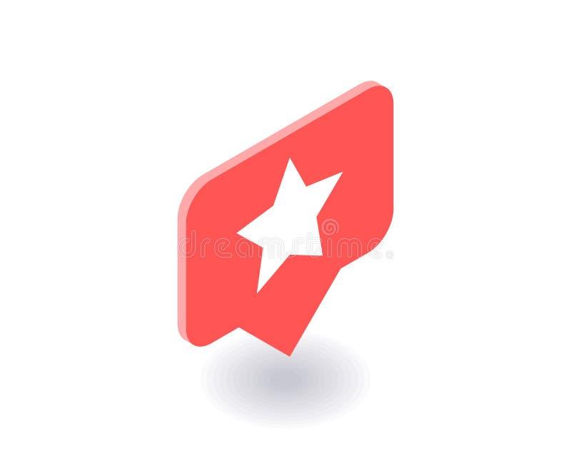 Star o ícone, símbolo do vetor no estilo 3D isométrico liso isolado no fundo branco Ilustração social dos meios ilustração do vetor
