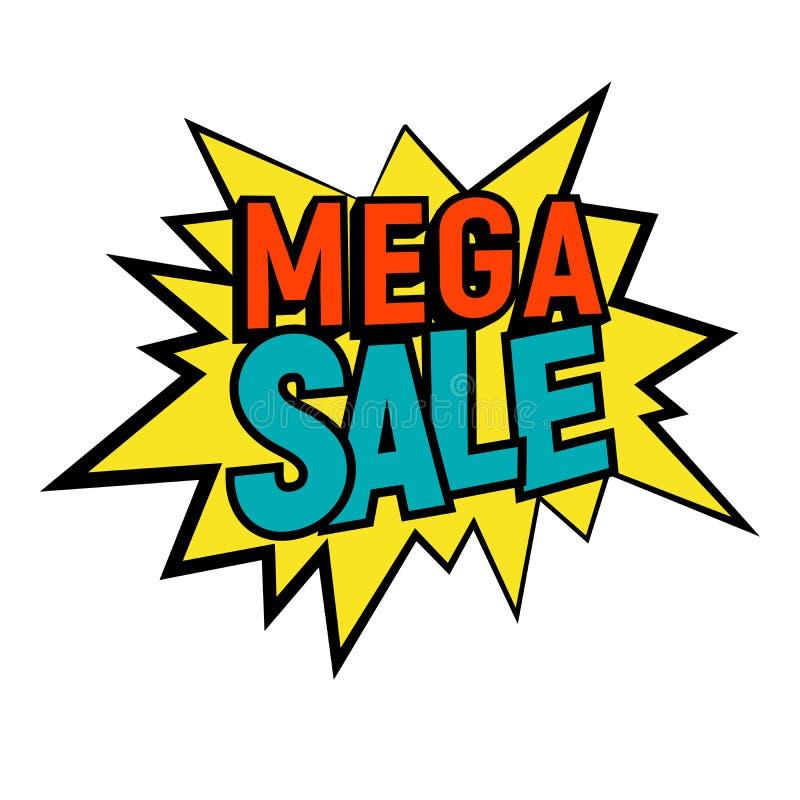 Star o estilo cômico da bolha com ilustração mega do vetor do texto da venda ilustração stock