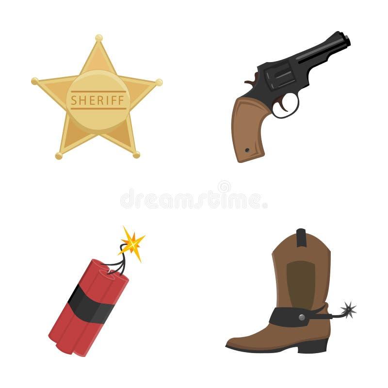 Star o xerife, potro, dinamite, bota de vaqueiro Os ícones ajustados da coleção do oeste selvagem no estilo dos desenhos animados ilustração stock