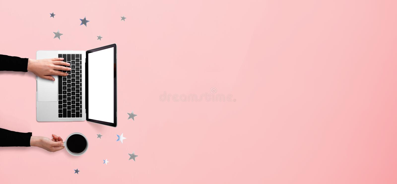 Star ornaments with person using a laptop computer. Overhead view flat lay vector illustration