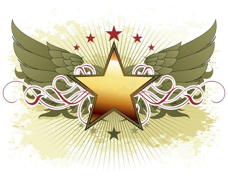 Star with ornate elements vector illustration
