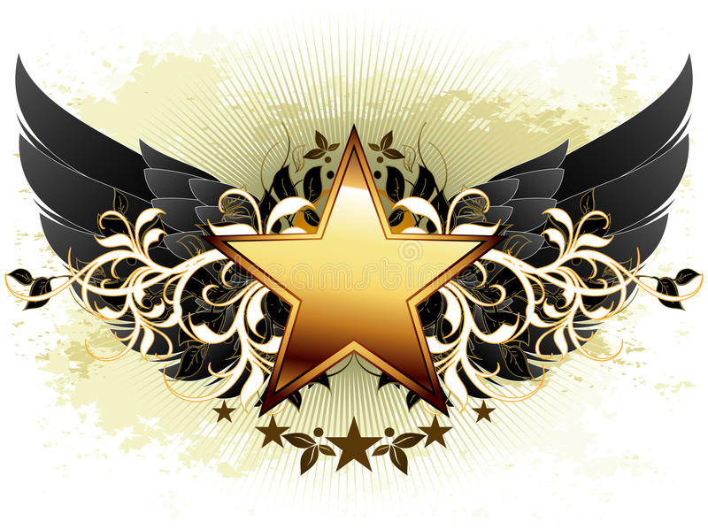 Star with ornate elements royalty free illustration