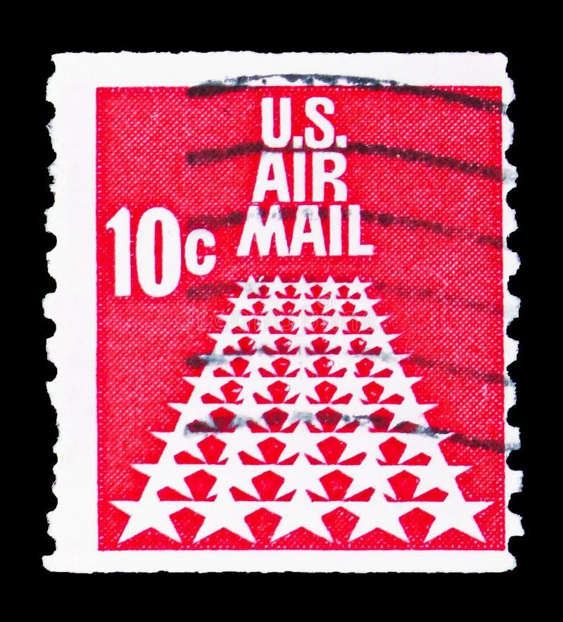 50-Star pas startowy, Airmail 1968-1973 seria około 1968, fotografia stock
