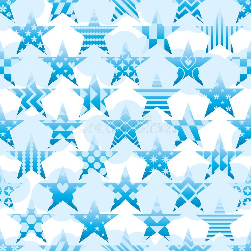 Star pattern cut sky cloud seamless pattern vector illustration