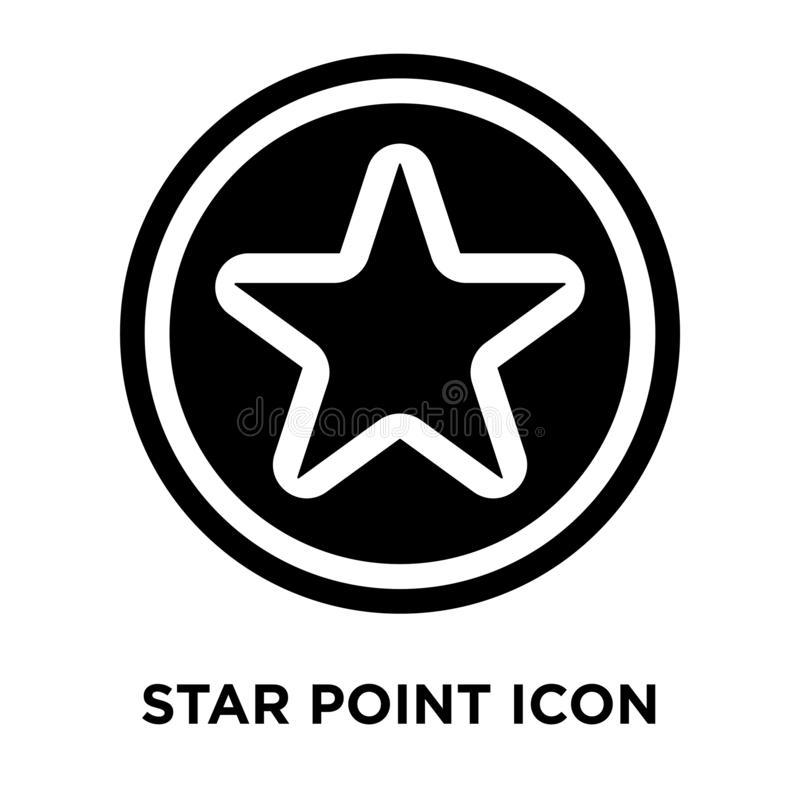 Star Point icon vector isolated on white background, logo concept of Star Point sign on transparent background, black filled royalty free illustration