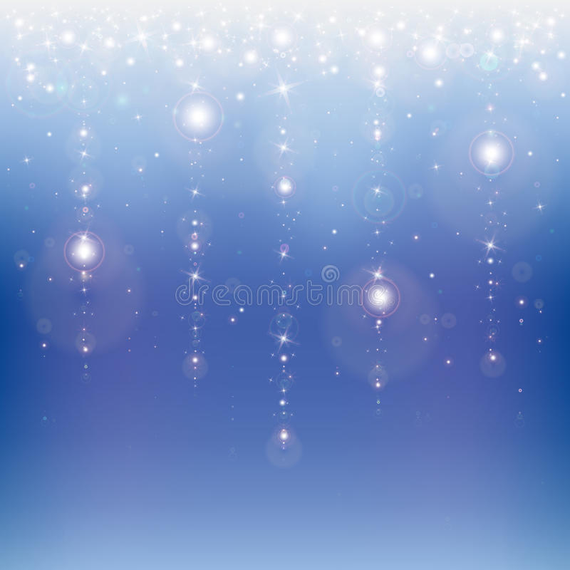 Star rain. On a blue abstract background stock illustration