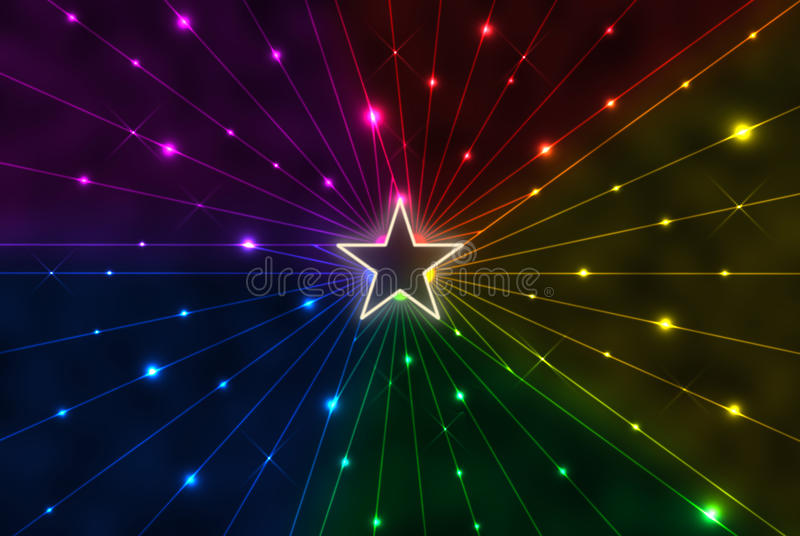 Star with rainbow rays vector illustration