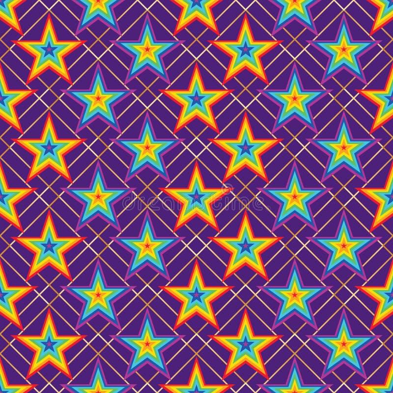 Star rainbow stripe symmetry diamond seamless pattern stock illustration