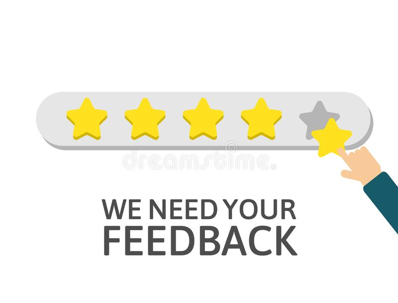 Star rating. Businessman holding a gold star in hand, to give five. Feedback concept. Happy customer, satisfaction clients. Evalua stock illustration