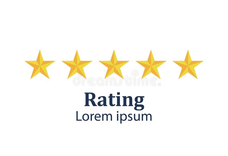 Star rating. Feedback concept. Evaluation system. Positive review. Vector illustration flat design. Isolated on white stock illustration