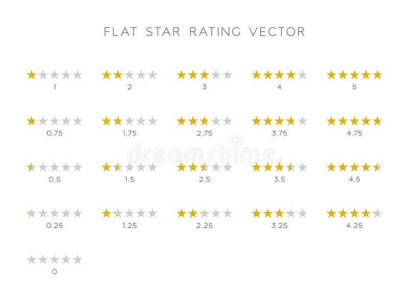 5 Star Rating Gold Vector Icons Set Flat vector illustration