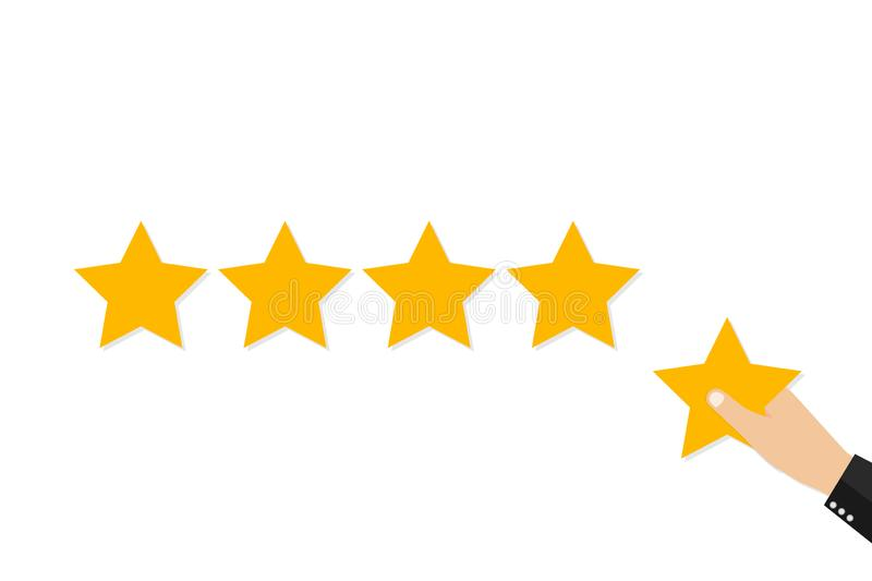 Star rating. Holding a gold star, to give five. Feedback concept. Evaluation system. Positive review. Vector illustration royalty free illustration