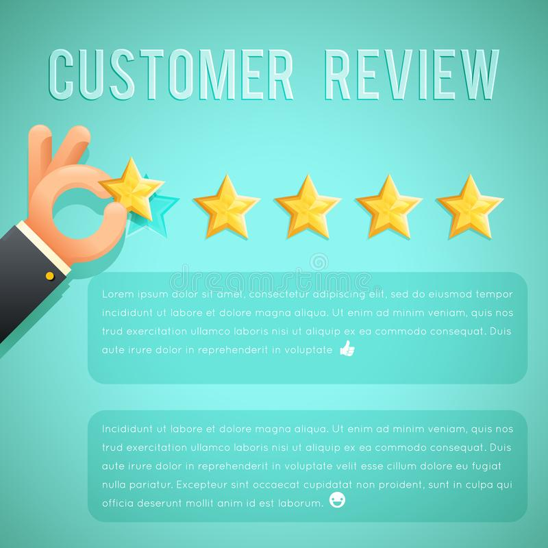 Star rating review customer experience hand text template background cartoon design business concept vector illustration. Star rating review customer experience vector illustration