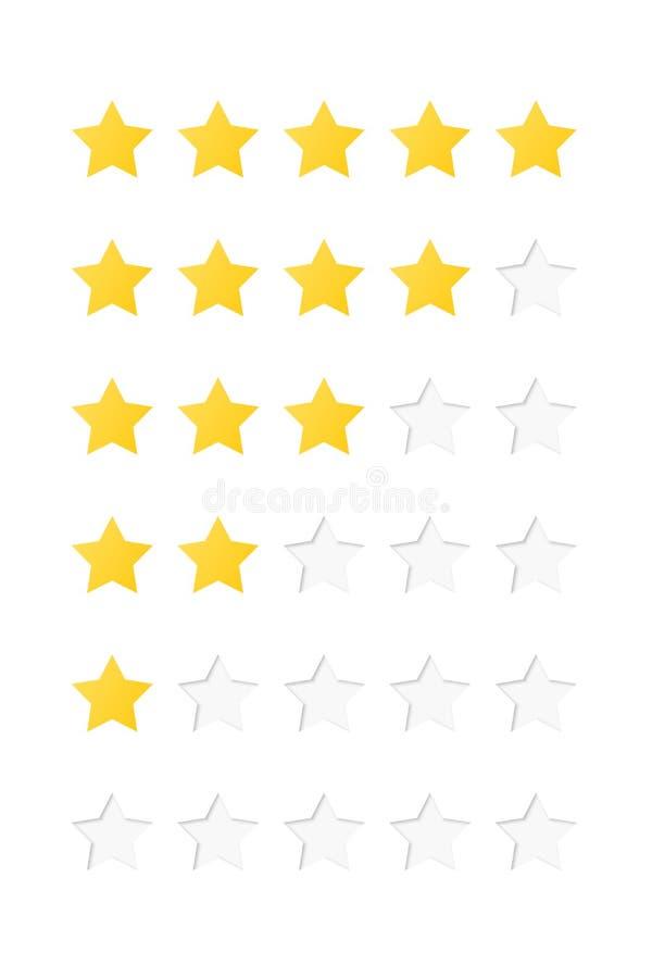 Star rating system. Vector illustration isolated on white background stock illustration