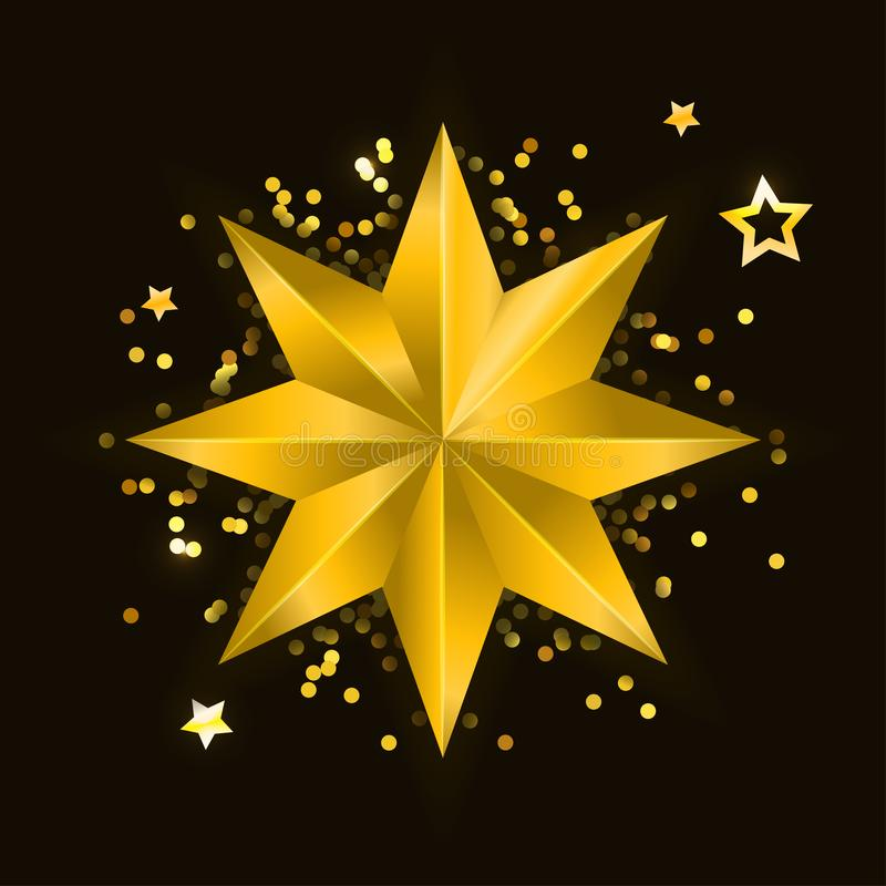 Star realistic metallic golden isolated yellow 3D Christmas royalty free illustration