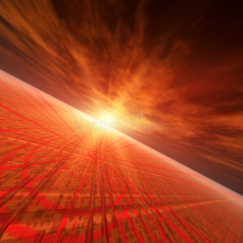 Star Red Horizon. An abstract illustration background of a bright star flash on a grunge technology target grid horizon vector illustration
