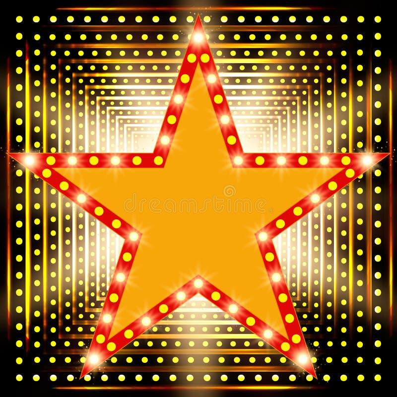 Star retro light banner on shining background. Vector illustration royalty free illustration