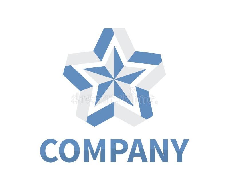 Star ribbon logo 7. Shinny star shape from blue and grey color ribbon logo design idea concept illustration for modern company concept vector illustration