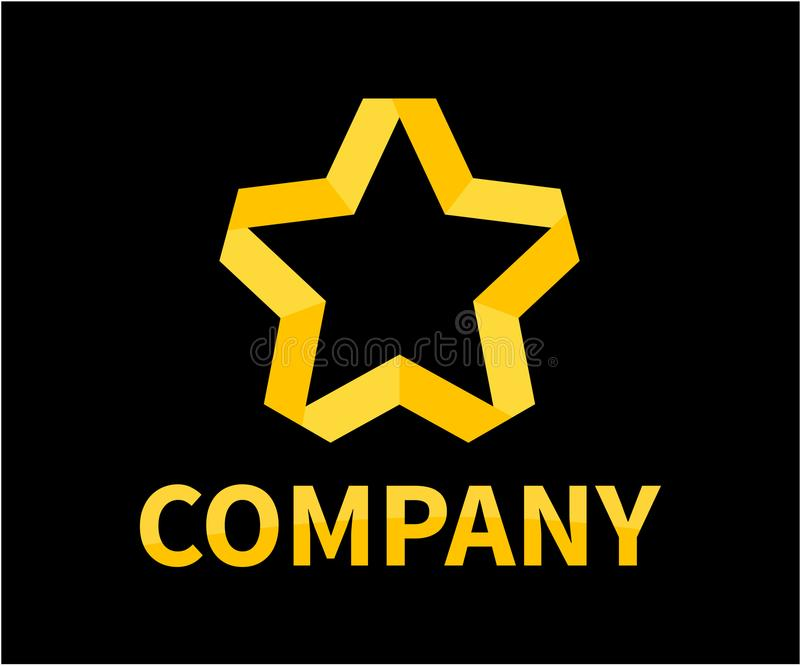 Star ribbon logo 6. Shinny star shape from gold color ribbon logo design idea concept illustration for modern company concept royalty free illustration