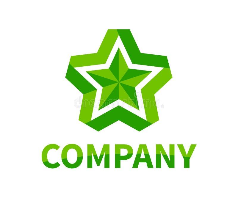 Star ribbon logo 4. Shinny star shape from green color ribbon logo design idea concept illustration for modern company concept stock illustration