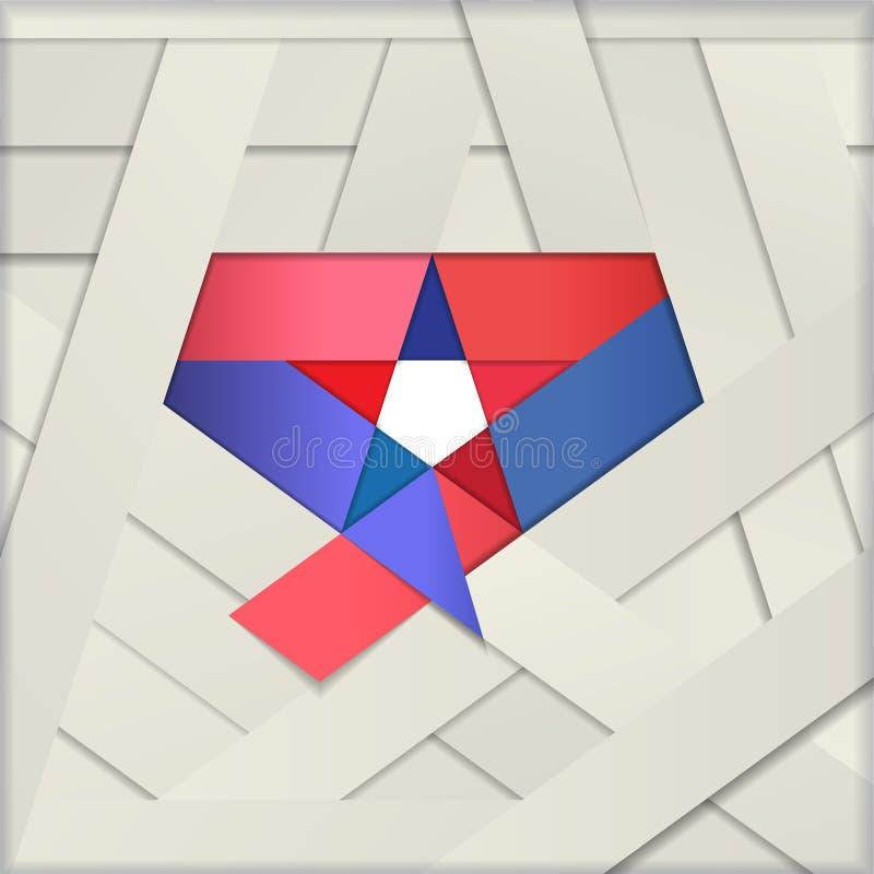 Star ribbon papercut vector illustration stock illustration