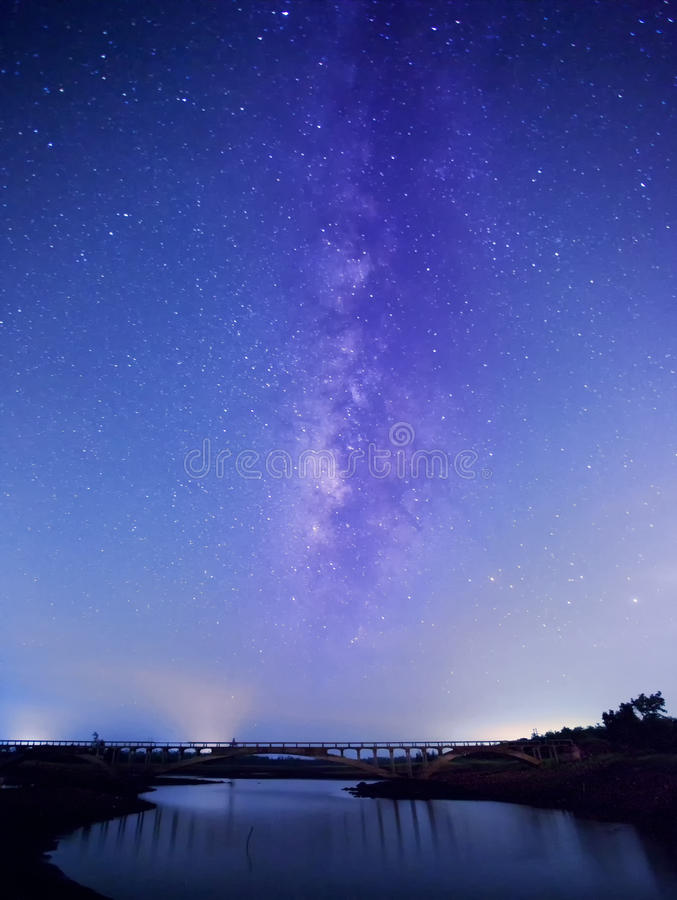 Free Star River With Bridge Background Royalty Free Stock Image - 90341516