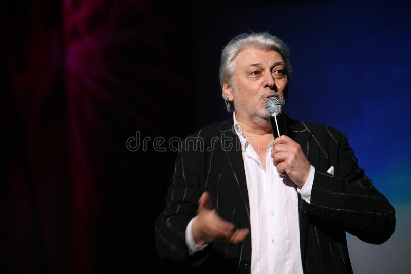 Star of Russian and Soviet music, popular music idol, honored man, millionaire, author, singer, composer Vyacheslav Dobrynin. A charity concert for the disabled stock photo
