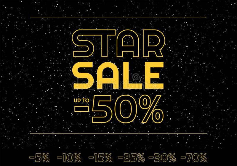 Star sale banner minus 50% discount - Star space yellow letters on black starry night sky space - Black friday banner vector royalty free illustration