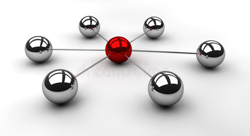 Star Scheme in chrome. Connected chrome spheres with a red ball in the middle to illustrate a network topology as well as the concept of dependency on one