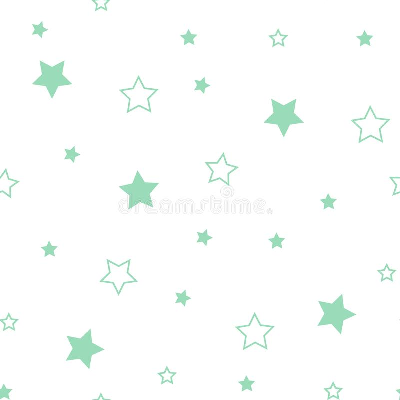 Star seamless pattern. Cute green stars. Baby Shower background. Babies Fashion. Vector illustration. Eps10 royalty free illustration