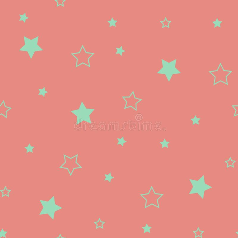 Star seamless pattern. Cute green stars. Baby Shower background. Babies Fashion. Vector illustration. Star seamless pattern. Cute red stars. Baby Shower royalty free illustration