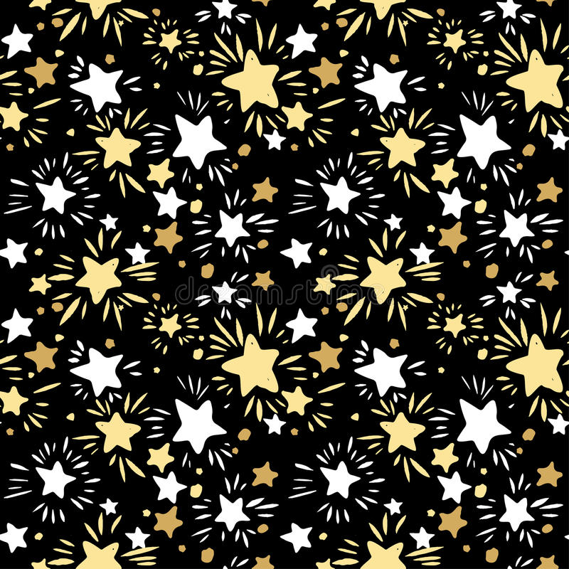 Star Seamless Pattern.Textile ink brush strokes texture in doodle grunge style. royalty free illustration