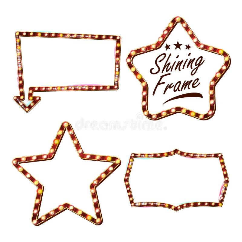 Star Set Billboard Vector. Shining Star Sign Board. Vintage Golden Illuminated Neon Light. Carnival, Circus, Casino stock illustration