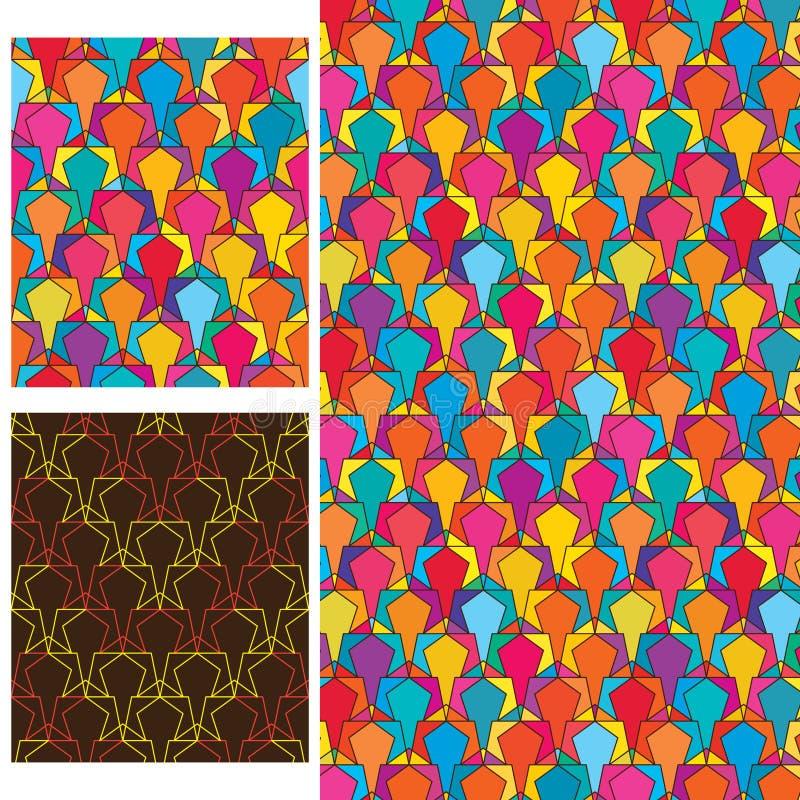 Star colorful line symmetry seamless pattern stock illustration