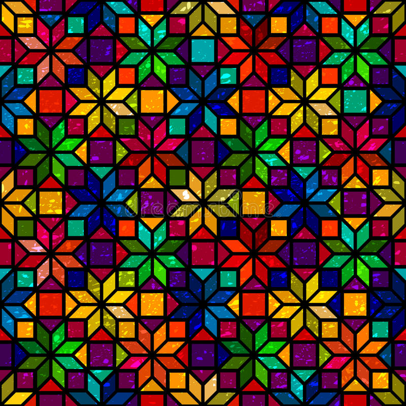 Star shape colorful geometric stained glass seamless pattern, vector royalty free illustration