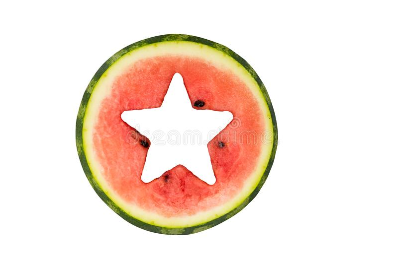 Star shape cut off in watermelon, isolated royalty free stock image