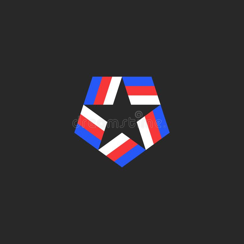 Star shape logo of the blue-red-white American tricolor ribbons inscribed in the pentagon, the national symbol of the USA stock illustration
