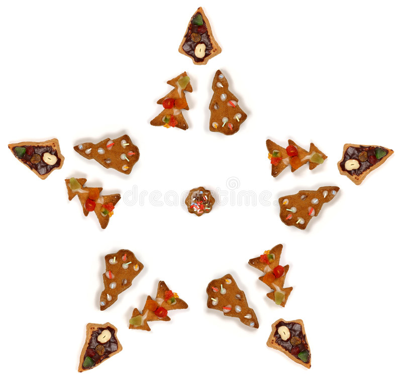 Star shape made of biscuits royalty free stock photo