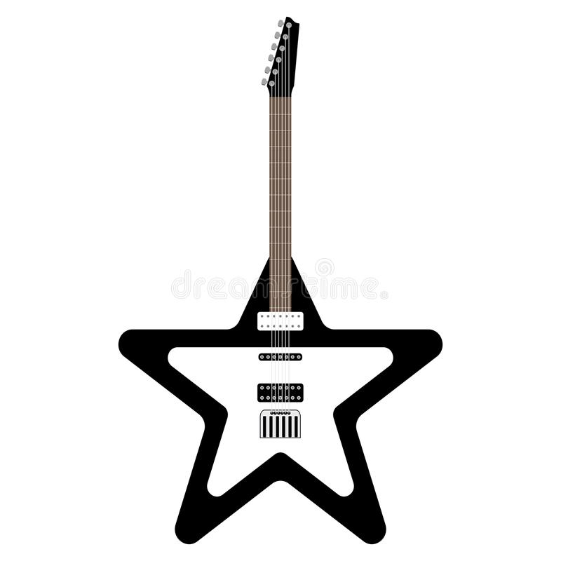Star shaped electric guitar. Musical instrument royalty free illustration